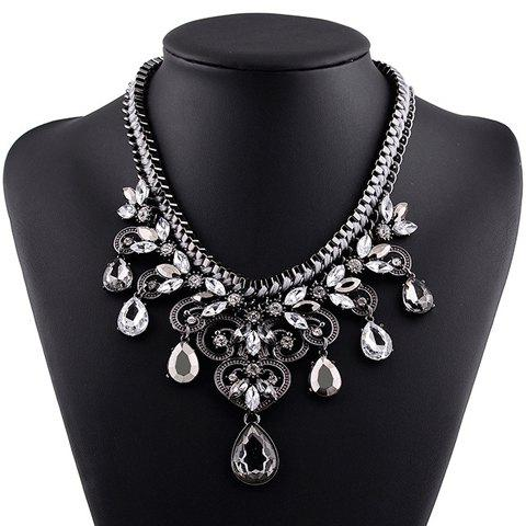 Delicate Exaggerated Faux Crystal Water Drop Hollow Out Necklace For Women - SILVER GRAY