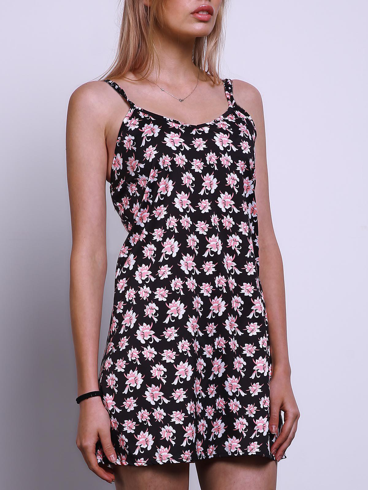 Sexy Women's Spaghetti Strap Flower Print Sundress - COLORMIX S