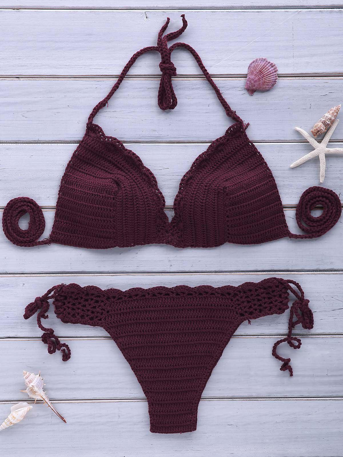 Sexy Women's Halterneck Purple Crochet Bikini Set - PURPLE ONE SIZE(FIT SIZE XS TO M)