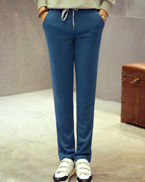 Lace-Up Slimming Narrow Feet Solid Color Men's Pants