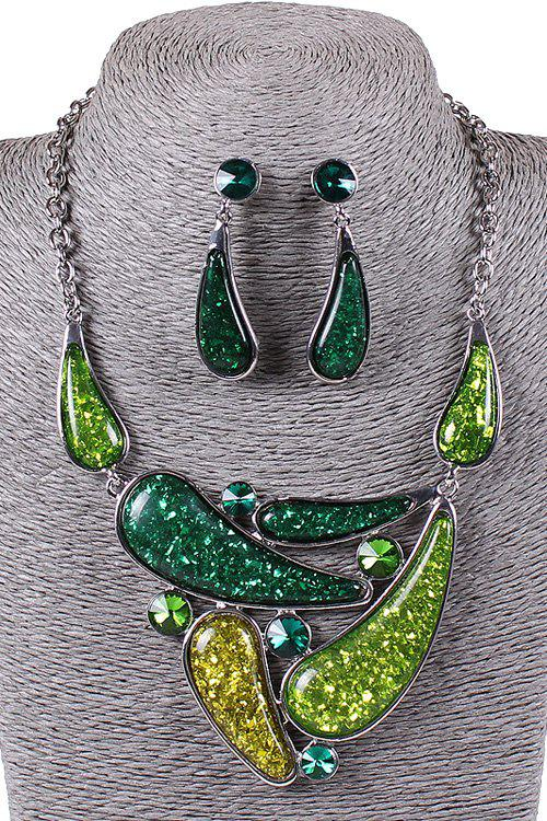 A Suit of Water Drop Resin Necklace and Earrings - GREEN