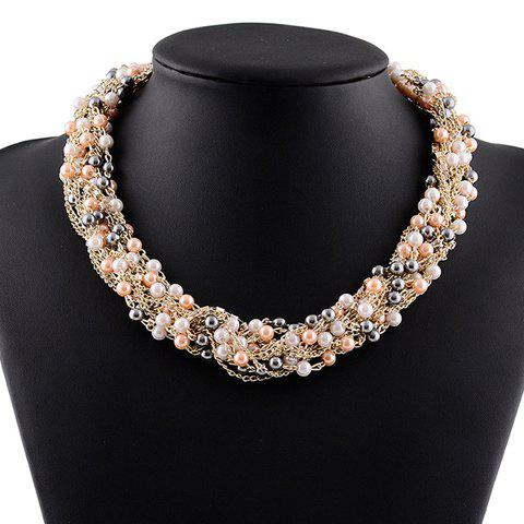 Fake Pearl Chains Necklace - GOLDEN