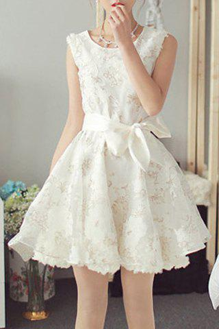 Chic Sleeveless Scoop Neck Flower Pattern Lace-Up Women's Dress - WHITE S