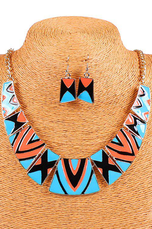 A Suit of Bohemia Geometric Pattern Necklace and Earrings - BLUE/ORANGE