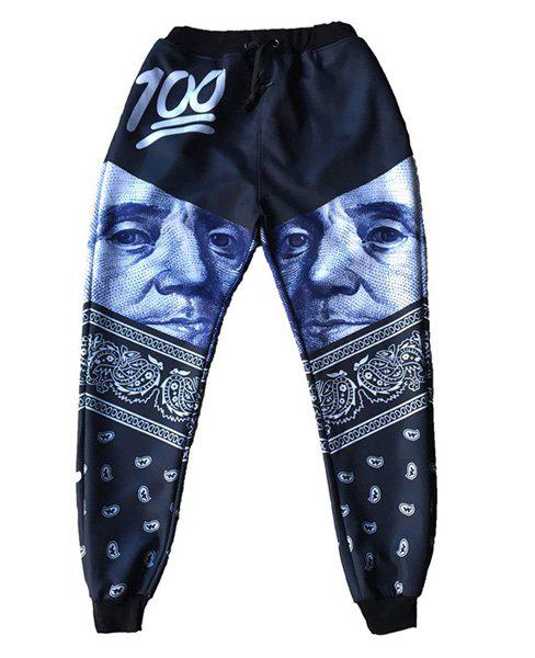 Narrow Feet Sports Style Figure Printed Jogging Pants For Men - COLORMIX L