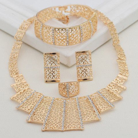 A Suit of Rectangle Multilayered Necklace Bracelet Earrings and Ring