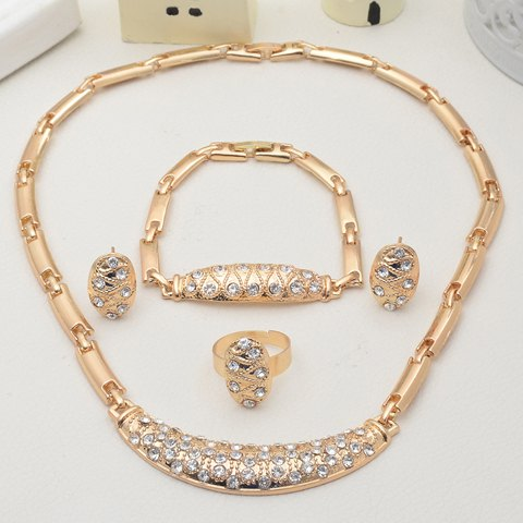 A Suit of Crescent Rhinestone Necklace Bracelet Earrings and Ring - GOLDEN ONE-SIZE