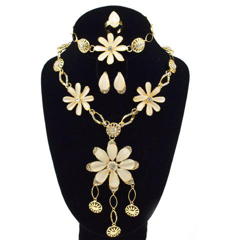 A Suit of Floral Faux Opal Necklace Bracelet Earrings and Ring - GOLDEN ONE-SIZE