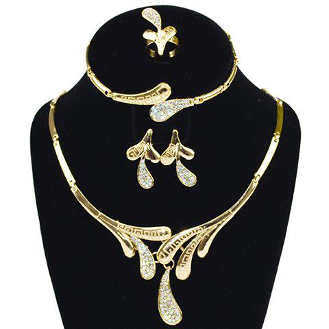 A Suit of Plant Rhinestone Necklace Bracelet Earrings and Ring - GOLDEN ONE-SIZE