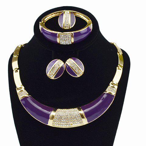 A Suit of Resin Rhinestone Necklace Bracelet Earrings and Ring - PURPLE ONE-SIZE