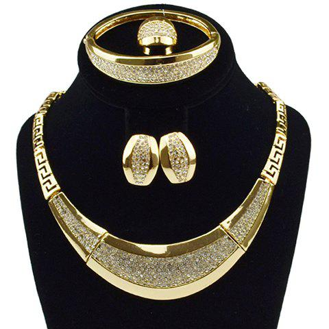 A Suit of Arc Rhinestone Decorated Necklace Bracelet Earrings and Ring - GOLDEN ONE-SIZE