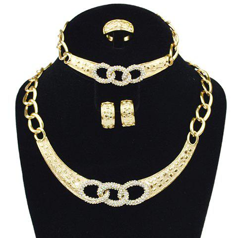 A Suit of Tri-Circle Rhinestone Necklace Bracelet Earrings and Ring - GOLDEN ONE-SIZE