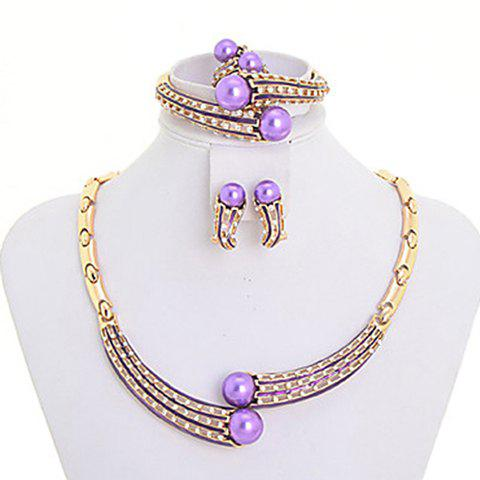 A Suit of Fashionable Purple Faux Pearl Necklace Bracelet Earrings and Ring For Women