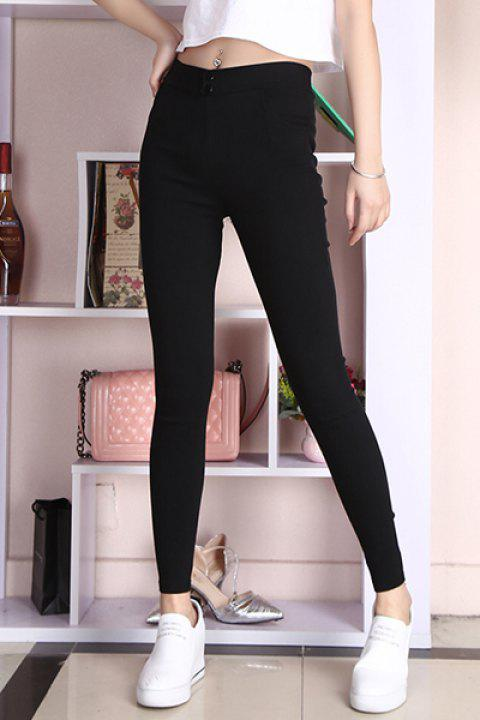8e647c0893df9 Chic Solid Color High-Waisted Slimming Women's Leggings - BLACK XL