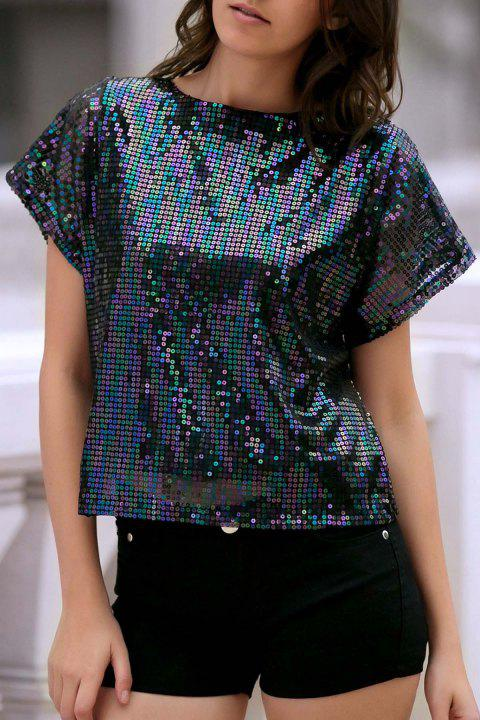 dbe6d60f5937 Stylish Round Neck Short Sleeve Sequined Women's Sparkly T-Shirt - BLACK XL