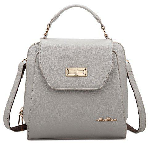 Fashion Zip and PU Leather Design Backpack For Women - GRAY