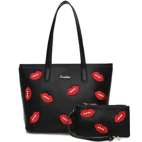 Casual PU Leather and Lips Design Shoulder Bag For Women - BLACK