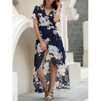 V-Neck Short Sleeve Floral Printed High Slit Dress