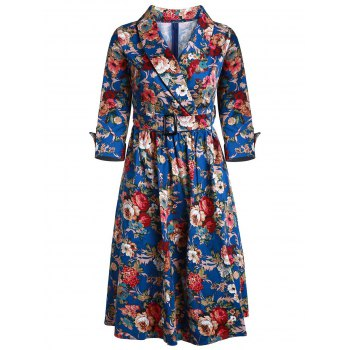 Vintage Style 3/4 Sleeve Shawl Collar Flower Pattern Women's Dress