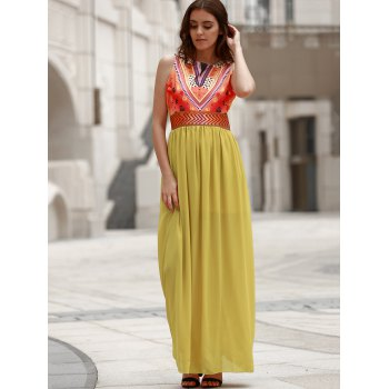 Bohemian Style Printed Sleeveless Round Neck Women's Dress