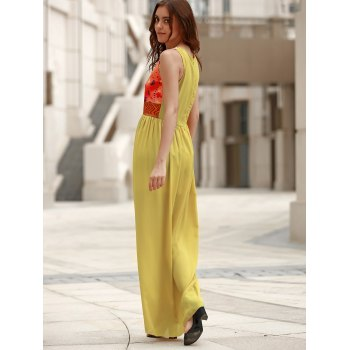 Bohemian Style Printed Sleeveless Round Neck Women's Dress - YELLOW M
