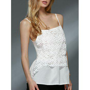 Sweet Spaghetti Strap Daisy Lace Design Chiffon Tank Top For Women