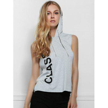 Active Hooded Letter Print Side Boob Tank Top For Women