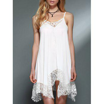 Spaghetti Strap Lace Spliced White Handkerchief Dress