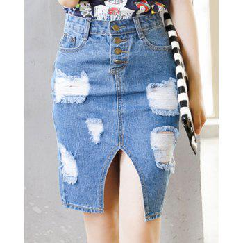 Trendy Furcal Ripped Denim Jean Pencil Skirt For Women