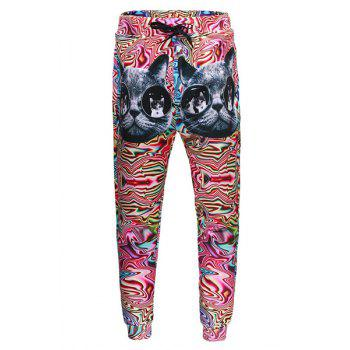 Men's Sports Style Cat Printed Lace Up Narrow Feet Long Pants