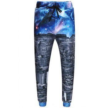 Men's Sports Style Starry Sky Printed Narrow Feet Lace Up Long Pants