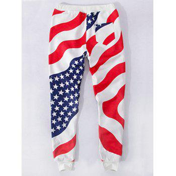 Sports Style Flag Printed Narrow Feet Lace Up Jogging Pants For Men - COLORMIX S