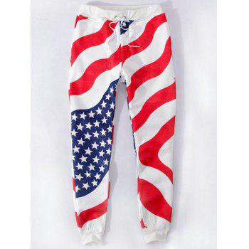 Sports Style Flag Printed Narrow Feet Lace Up Jogging Pants For Men