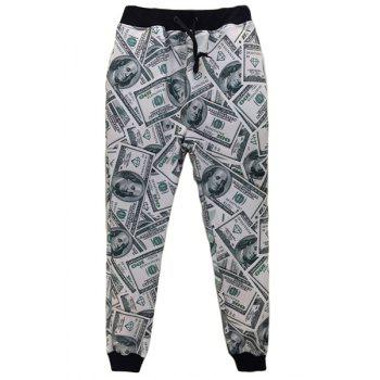 Men's Dollar Printed Sports Style Narrow Feet Lace Up Jogging Pants