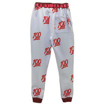 Sports Style Lace Up Narrow Feet Number Printed Jogging Pants For Men - RED/WHITE XL