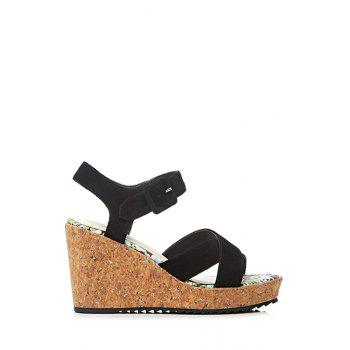 Stylish Cross-Strap and Wedge Heel Design Sandals For Women