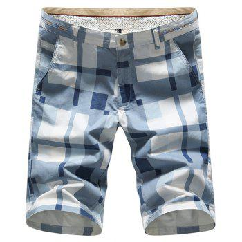 Plus Size Straight Leg Color Block Plaid Slimming Men's Zipper Fly Shorts