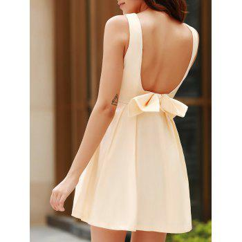 Sexy Round Neck Sleeveless Backless Bowknot Design Women's Dress