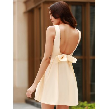 Sexy Round Neck Sleeveless Backless Bowknot Design Women's Dress - APRICOT S