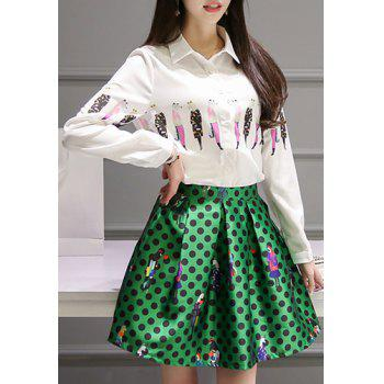 Sweet Cartoon Print Long Sleeves Blouse +Polka Dot Skirt Women's Twinset