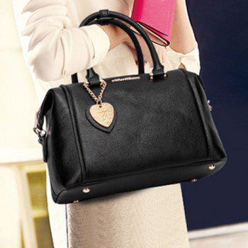 Concise Solid Colour and PU Leather Design Tote Bag For Women - BLACK