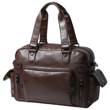 Stylish PU Leather and Zipper Design Men's Briefcase -  COFFEE