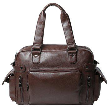 Stylish PU Leather and Zipper Design Men's Briefcase - COFFEE COFFEE