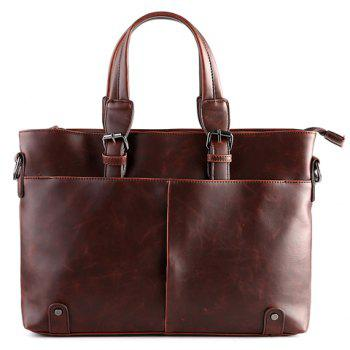 Trendy Solid Colour and Buckles Design Men's Briefcase