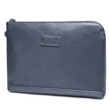 Simple Solid Colour and PU Leather Design Men's Clutch Bag - BLUE