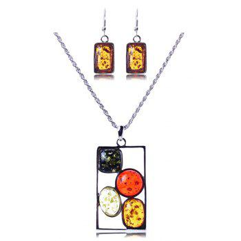 A Suit of Geometric Faux Amber Necklace and Earrings