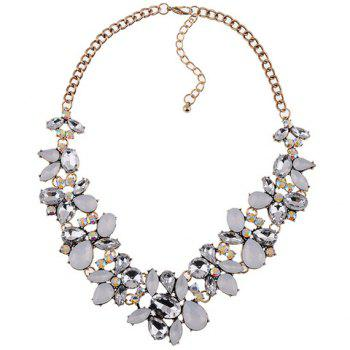 Water Drop Faux Crystal Necklace - WHITE
