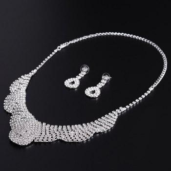 A Suit of Water Drop Rhinestoned Necklace and Earrings - SILVER