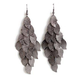 Pair of Exquisite Multi-Layered Leaf Shape Earrings For Women