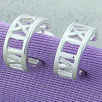 Pair of Cute Roman Numerals Hoop Earrings For Women